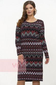Платье женское 2315 Фемина (Черный/слива/роза/молоко)