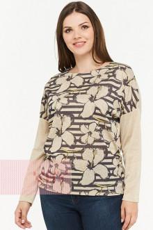 Блузка женская 182-3465 Фемина (Бежевый полоска/бежевый)