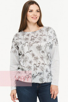 Блузка женская 182-3465 Фемина (Светло-серый цветок/светло-серый)