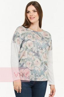Блузка женская 182-3465 Фемина (Пионы серый/серый)