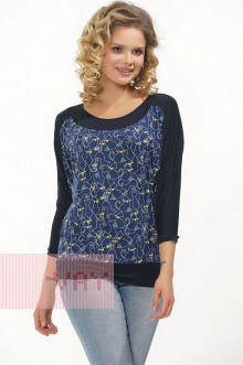 Блузка женская 182-3456 Фемина (Темно-синий/котята синий)