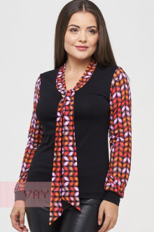 Блузка женская 182-3438 Фемина (Черный/косы красный)