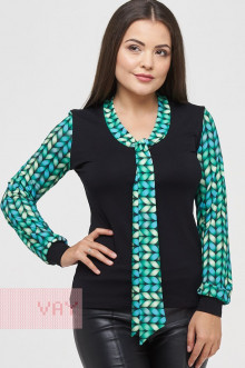 Блузка женская 182-3438 Фемина (Черный/косы зеленый)