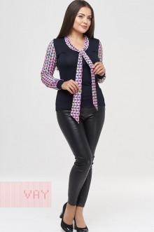 Блузка женская 182-3438 Фемина (Темно-синий/косы розовый)
