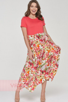 Платье женское 191-3482 Фемина (Коралл/маки)