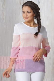 """Джемпер """"Фемина"""" 4380 (Светлая сирень/бледно-розовый/розовый/белый)"""