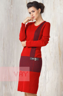 Платье женское 2254 Фемина (Кармин/темно-синий)