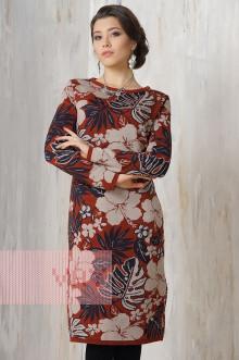 Платье женское 2181 Фемина (Кирпичный/светлая верба/мокрый асфальт)