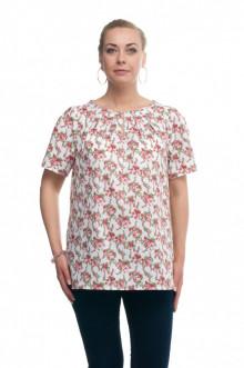 """Блуза """"Олси"""" 1610013/4 ОЛСИ (Розы мелкие на белом)"""