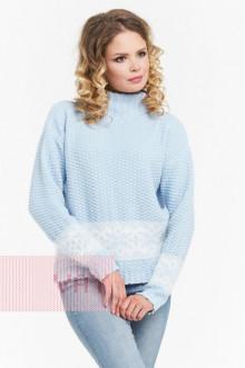 Джемпер женский 182-4669 Фемина (Жемчужно-голубой/молоко)