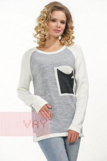 Джемпер женский 182-4646 Фемина (Молоко/светло-серый меланж/антрацит)