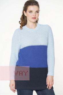 Джемпер женский 182-4642 Фемина (Темно-синий/ниагара/жемчужно-голубой)