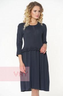 Платье женское 182-2324 Фемина (Темно-синий/металнить черная)