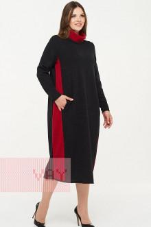 Платье женское 182-2323 Фемина (Темный антрацит/кармин)