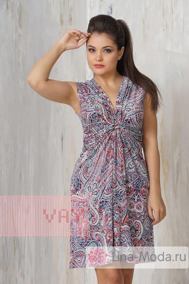 Платье женское 3205 Фемина (Мозайка голубой)