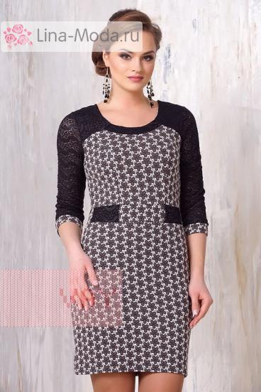 Платье женское 3146 Фемина (Молоко-кофейный цветок/гипюр черный)